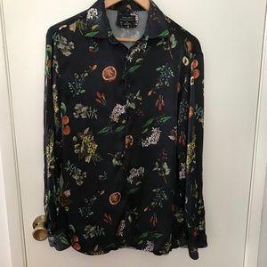 Zara shirt button front floral print size large
